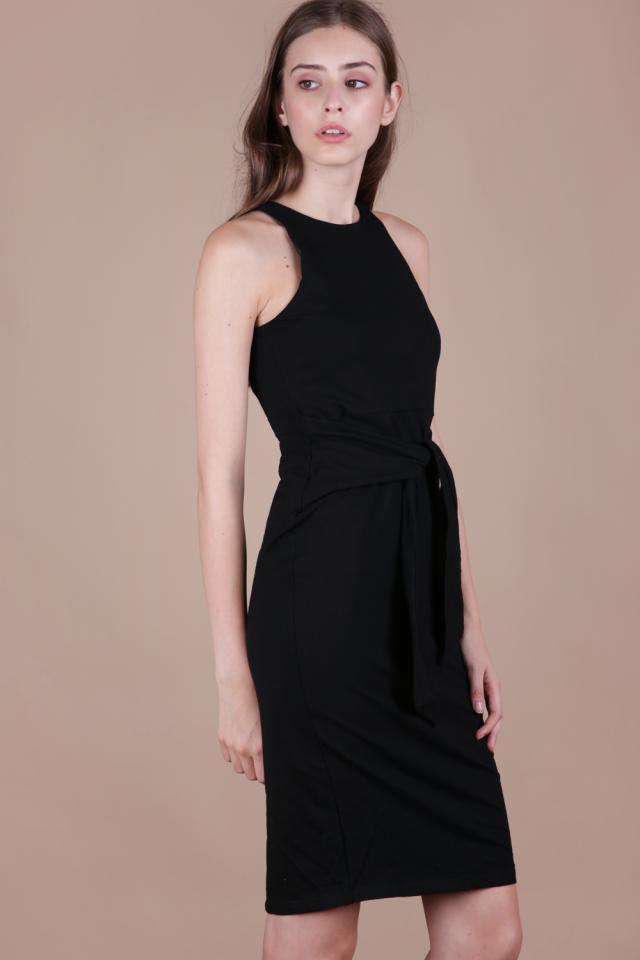 Chev Tie Front Dress (Black)