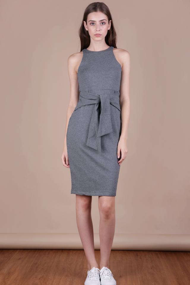 Chev Tie Front Dress (Grey)