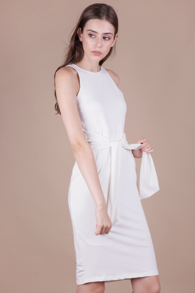 Chev Tie Front Dress (White)