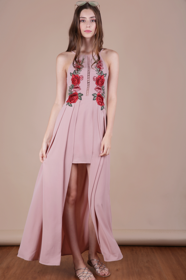 Eve Embroidery Dress (Dusty Pink)