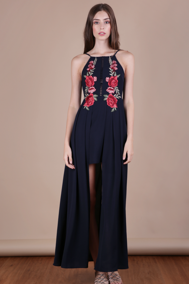 Eve Embroidery Dress (Navy)