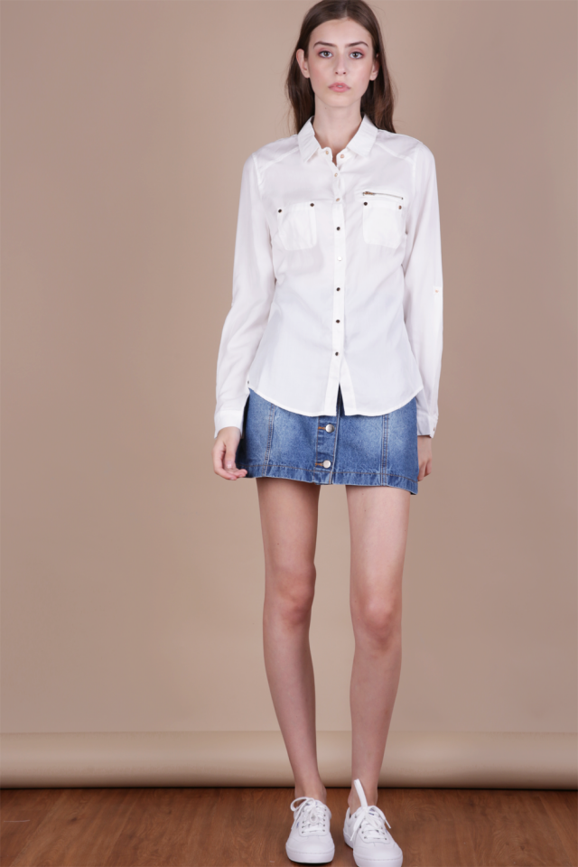 Kinga Military Shirt (White)
