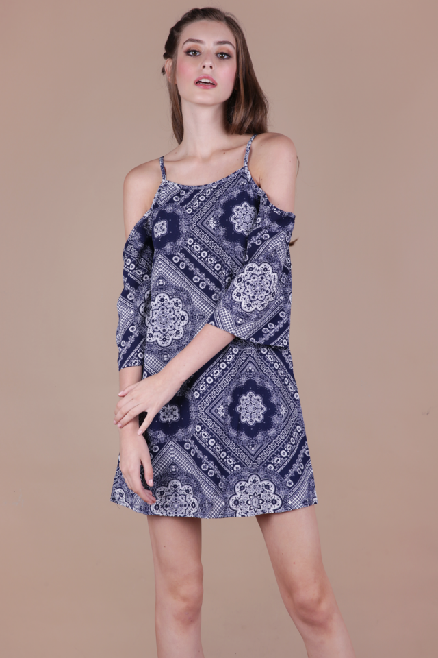 Klum Cold Shoulder Dress (Navy Print)