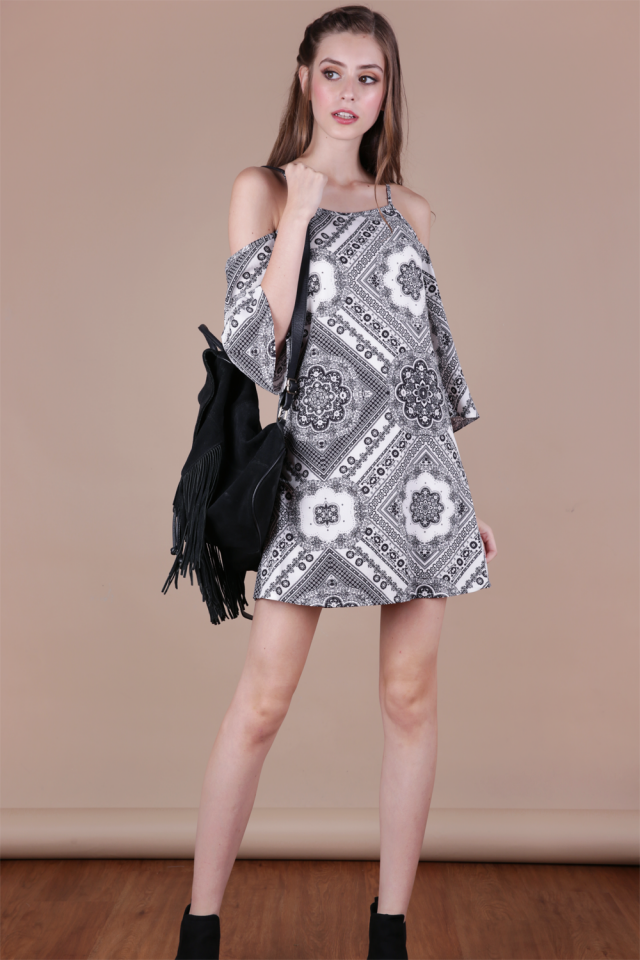 Klum Cold Shoulder Dress (Mono Print)