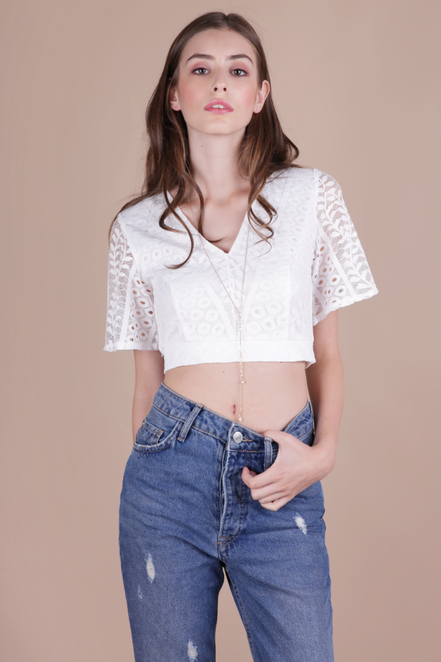 Lara Lace Sleeved Top (White)