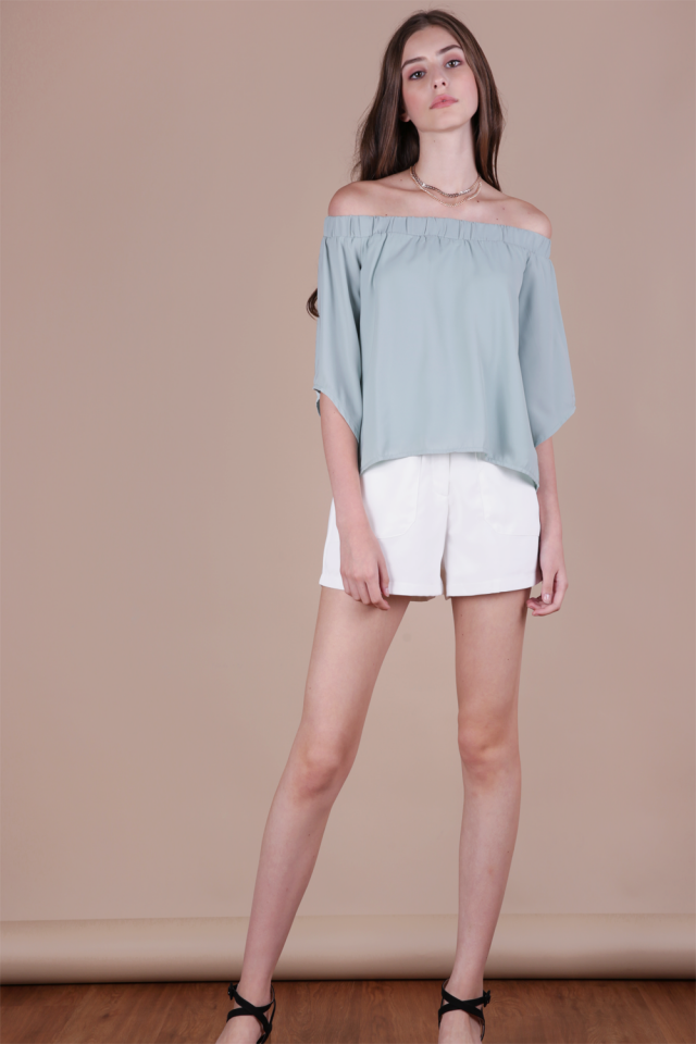 Cheri Off Shoulder Top (Sage Green)