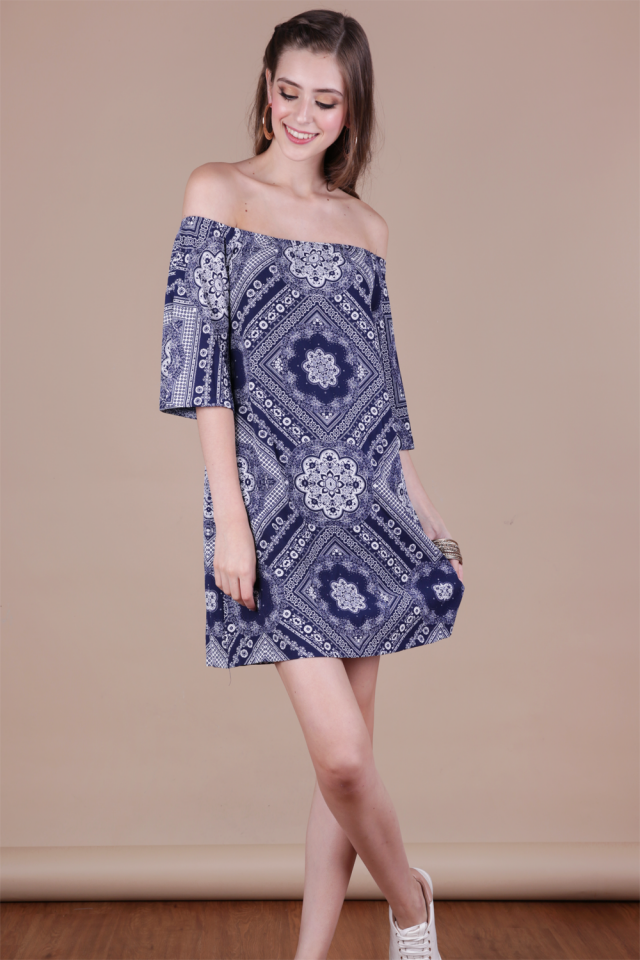 Tabitha Offsie Dress (Navy Print)