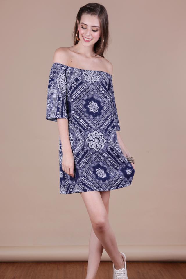 Tabitha Offsie Dress (Navy Print)