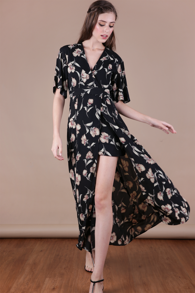 Palmizana Wrap Front Maxi Dress (Black Florals)
