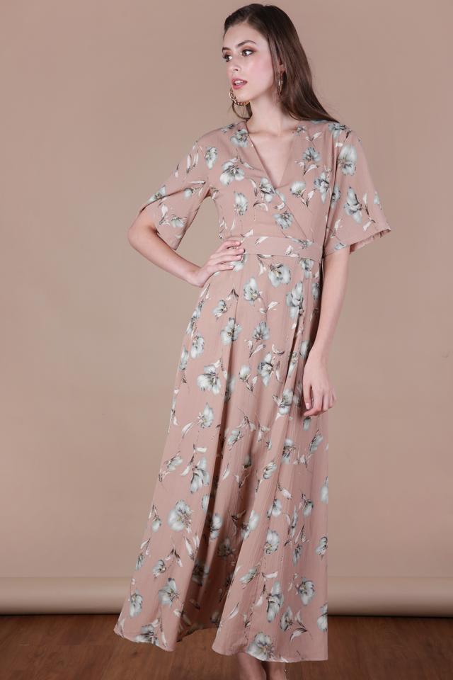 Palmizana Wrap Front Maxi Dress (Pink Florals)