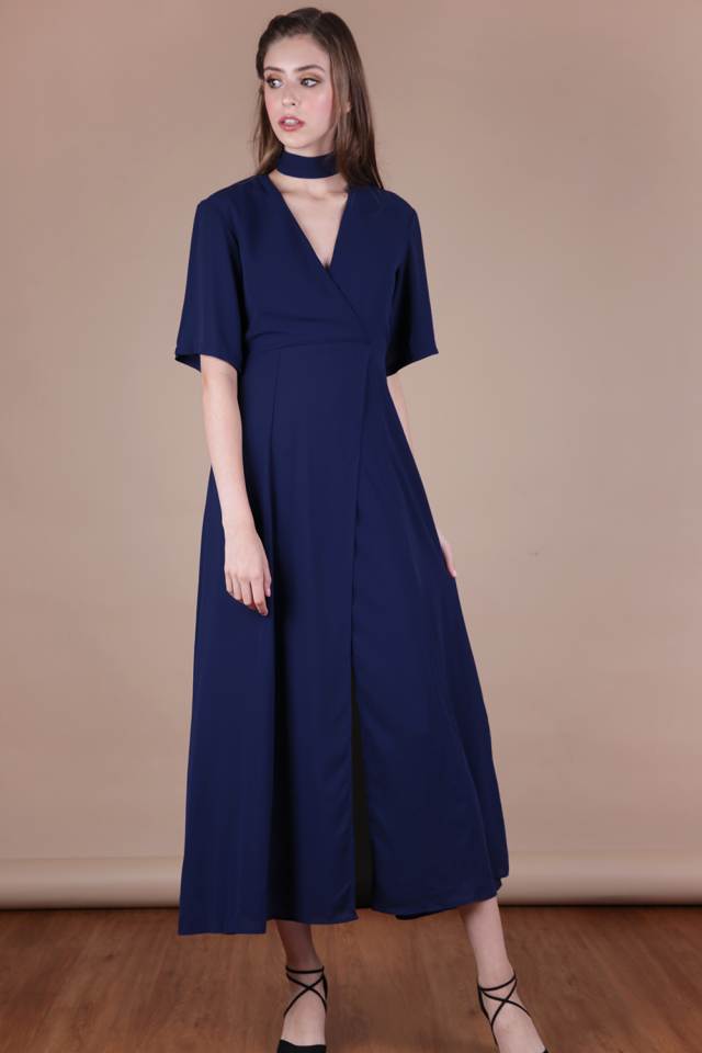 Palmizana Wrap Front Maxi Dress (Navy)