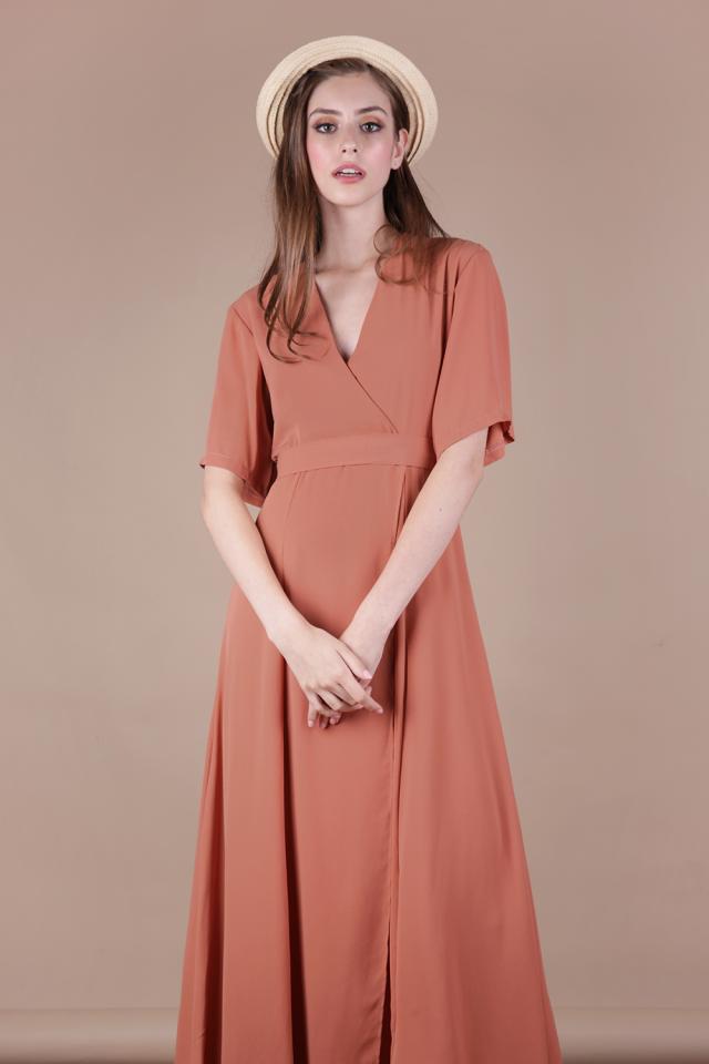 Palmizana Wrap Front Maxi Dress (Light Rust)