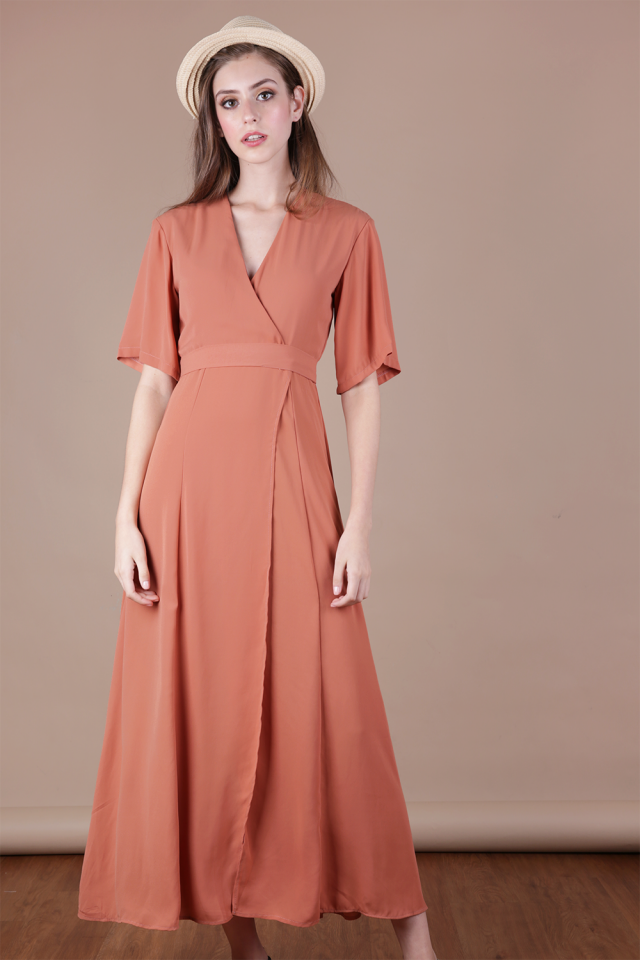 Palmizana Wrap Front Maxi Dress (Light Rust)