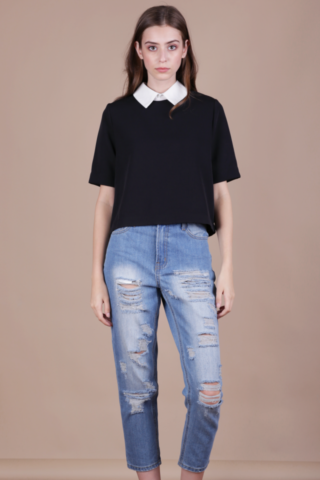 Piper Collar Top (Black)