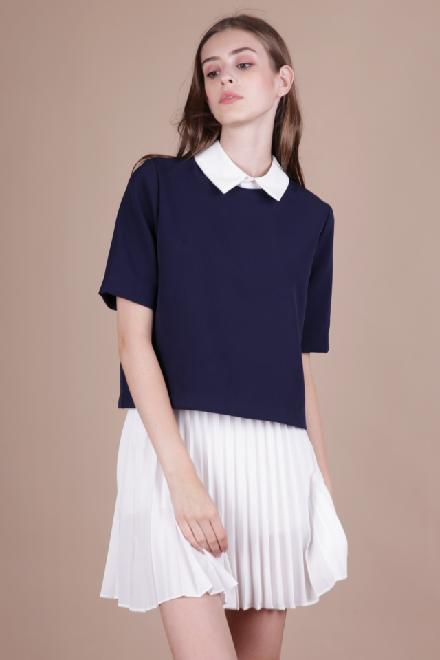 Piper Collar Top (Navy)