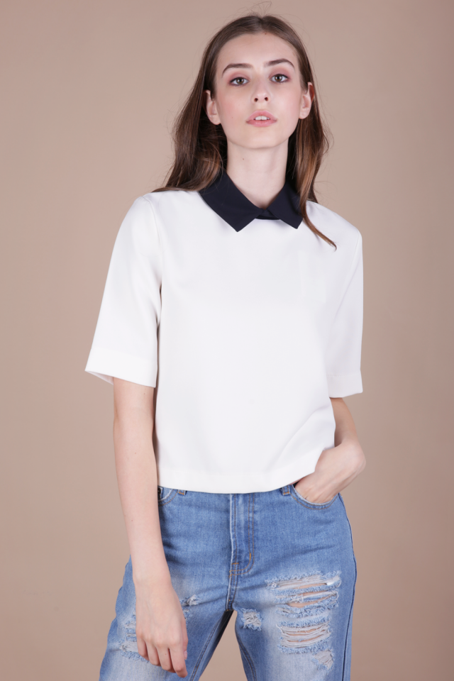 Piper Collar Top (White)