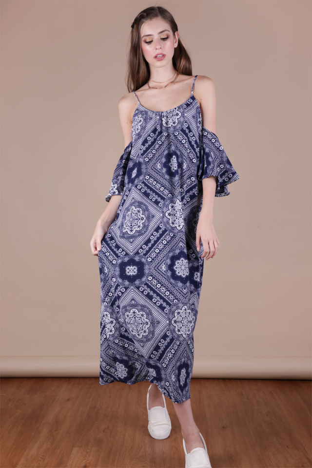 Ross Midi Dress (Navy Print)