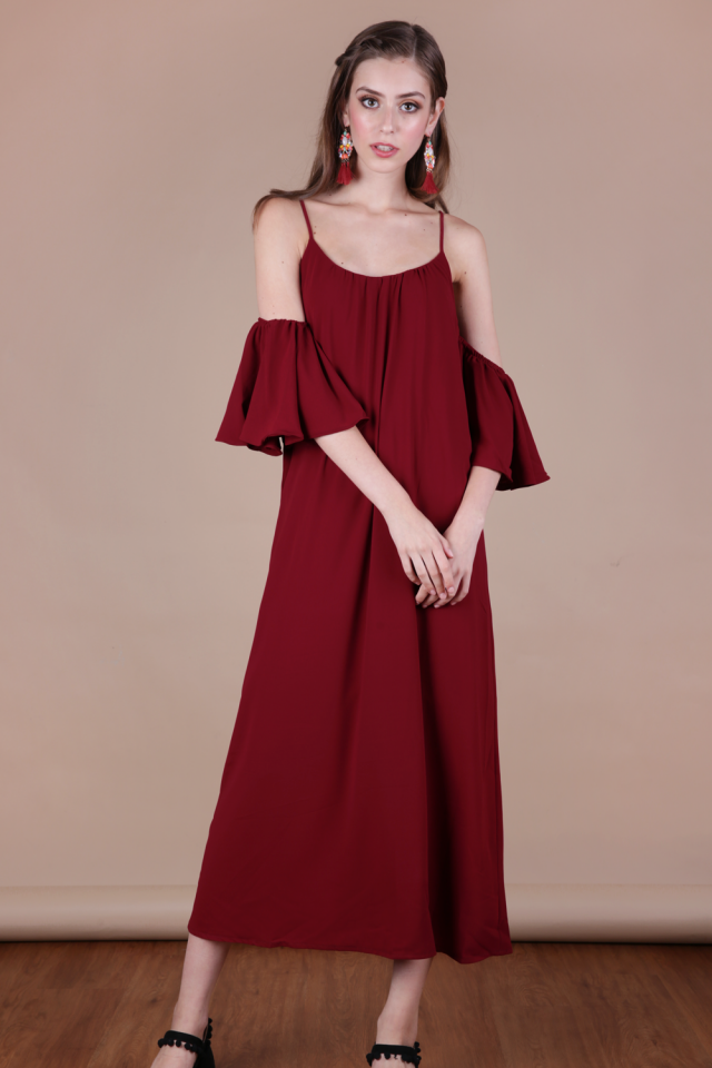Ross Midi Dress (Wine Red)