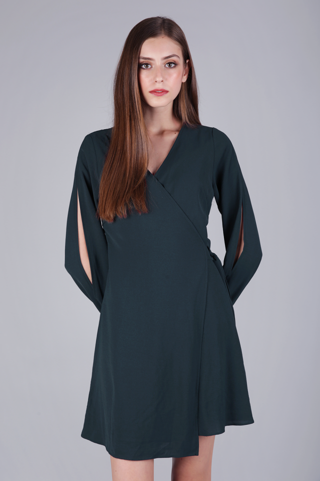 Sam Split Sleeve Dress (Forest Green)