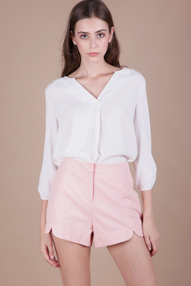 Fyn Curved Hem Shorts (Pink)