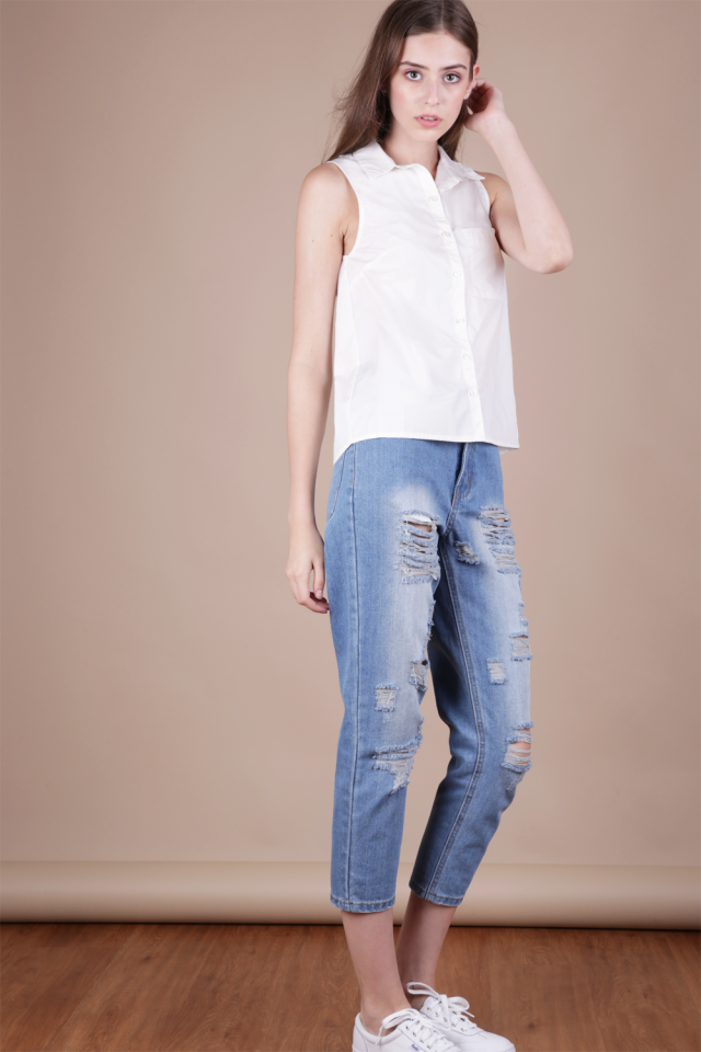 Bess Sleeveless Shirt (White)