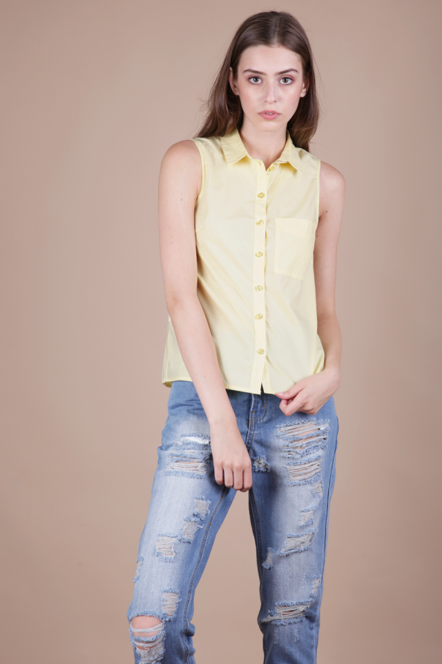 Bess Sleeveless Shirt (Pastel Yellow)