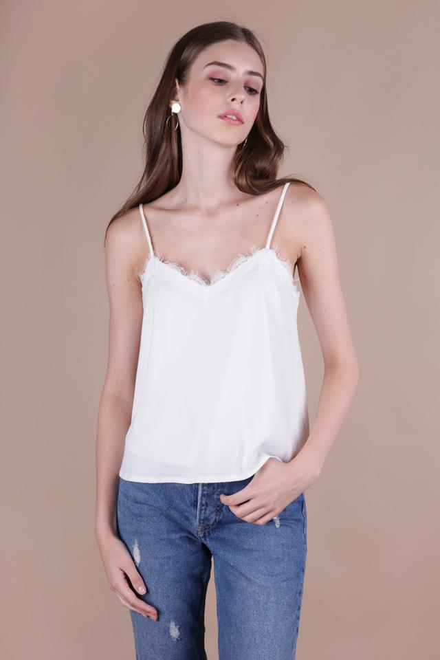 Vinci Lace Spag Top (White)