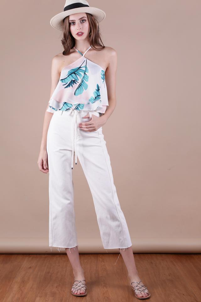 Anya V Neck Top (White Palm Print)