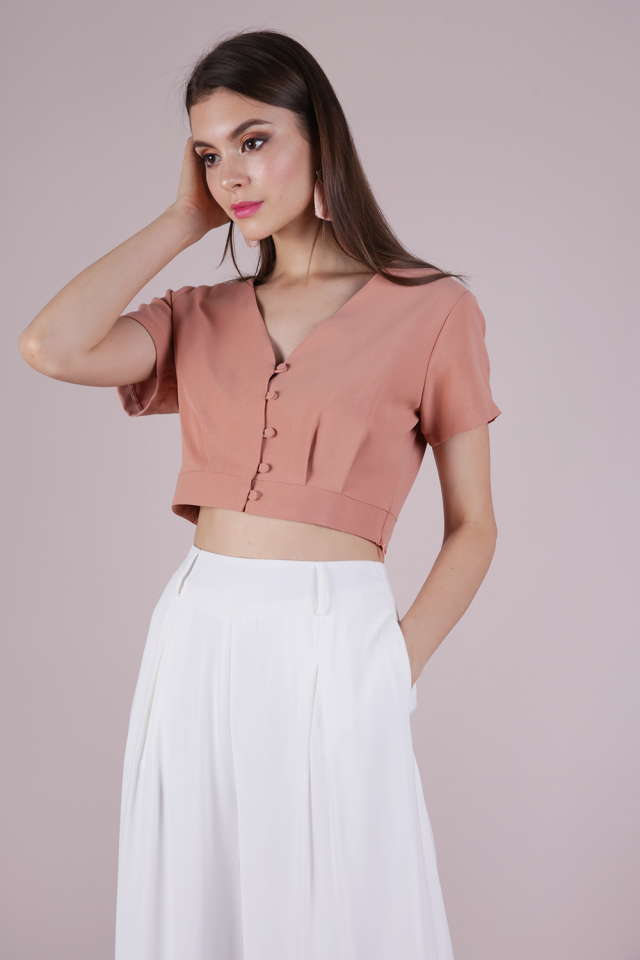 Liddy Button Down Top (Apricot)