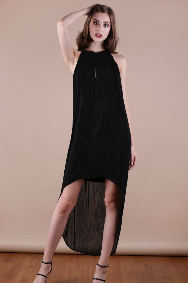 Diya Pleated Dress (Black)