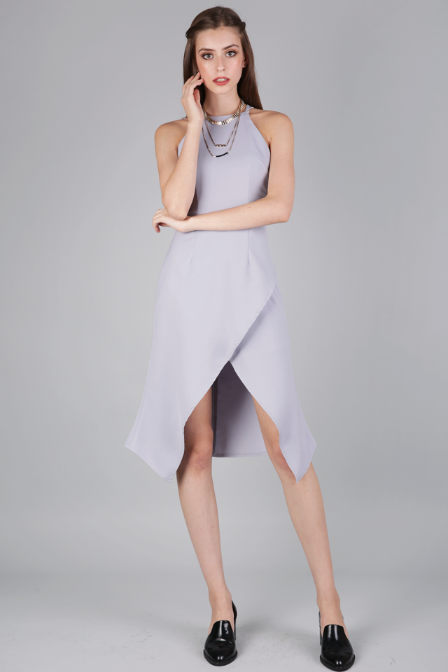 Jenna Cocktail Dress (Lilac Grey)