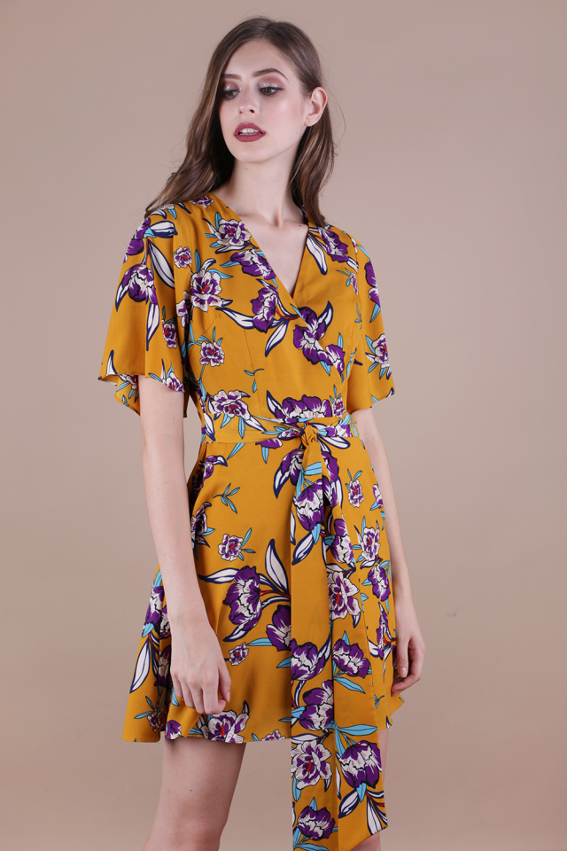 Izabela Flare Sleeve Dress (Mustard Florals)