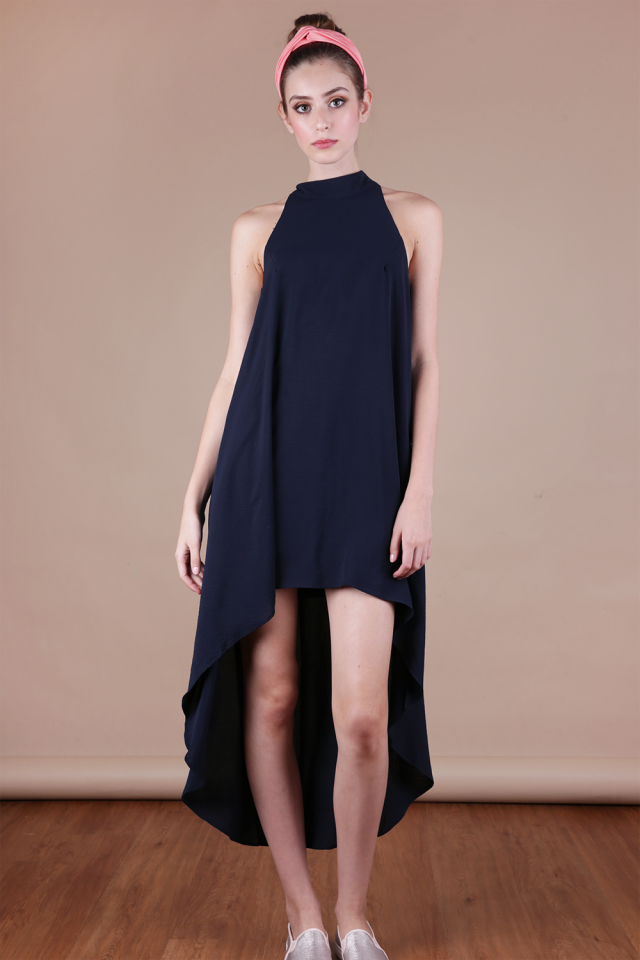 Brielle Fishtail Dress (Navy)