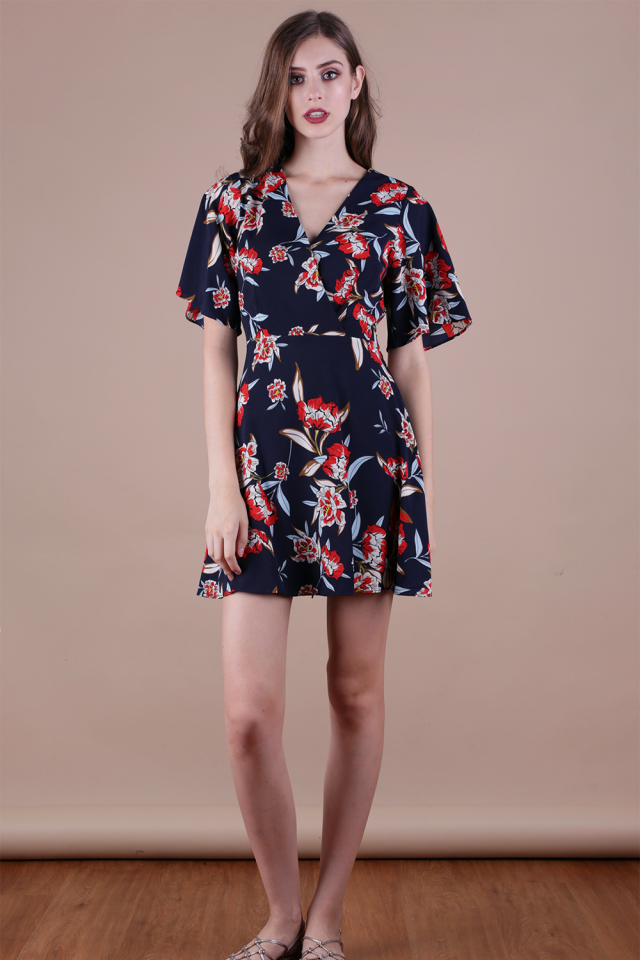 Izabela Flare Sleeve Dress (Navy Florals)