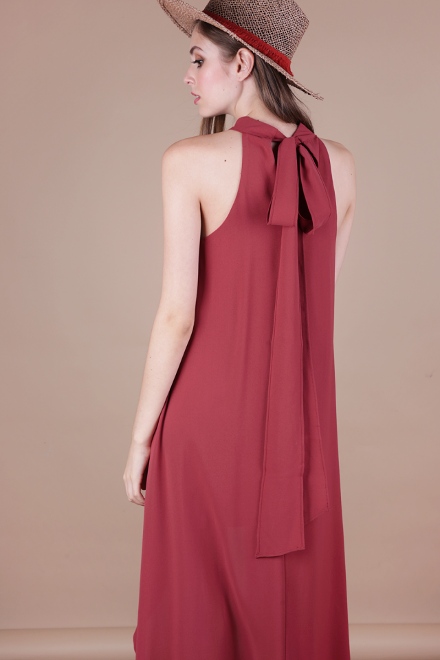 Brielle Fishtail Dress (Dusty Crimson)