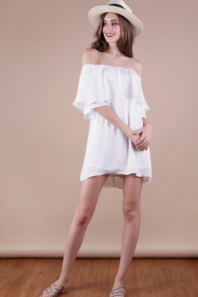 Lavish Off Shoulder Dress (White)