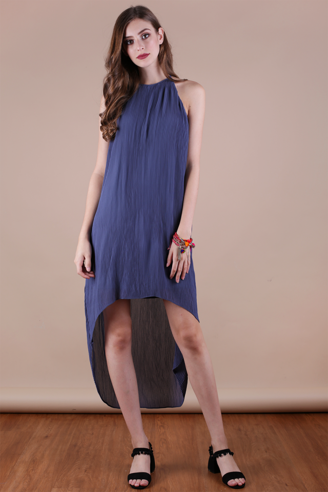 Diya Pleated Dress (Dusty Periwinkle)