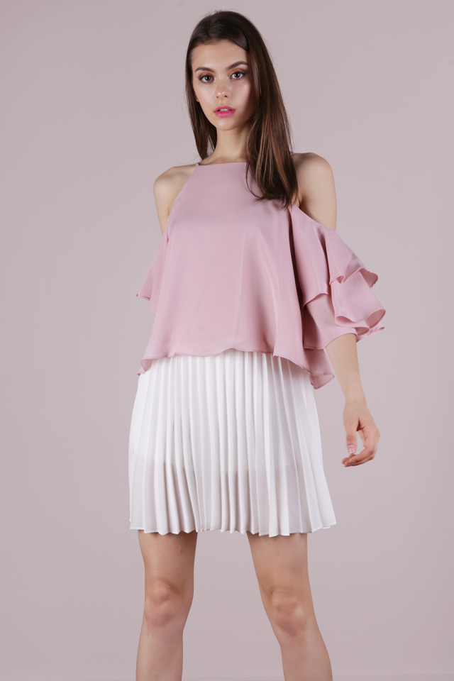 Irina Cold Shoulder Ruffles Top (Pale Pink)