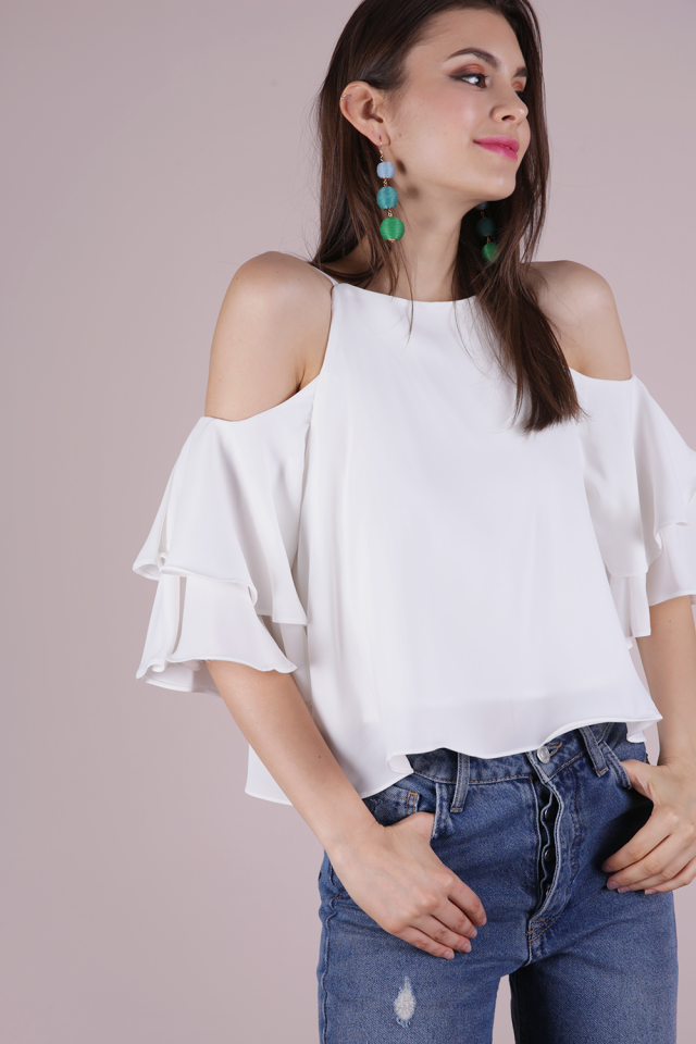 Irina Cold Shoulder Ruffles Top (White)