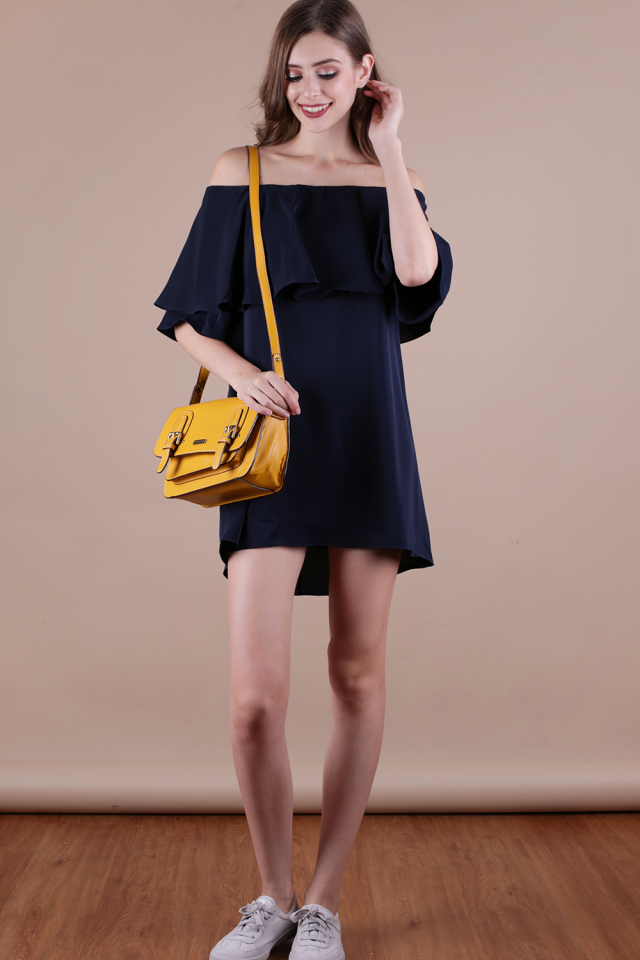 Lavish Off Shoulder Dress (Navy)