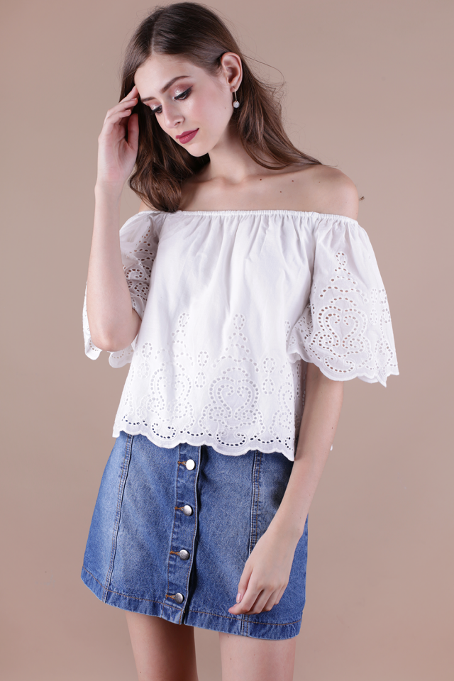 Camille Eyelet Off Shoulder Top (White)