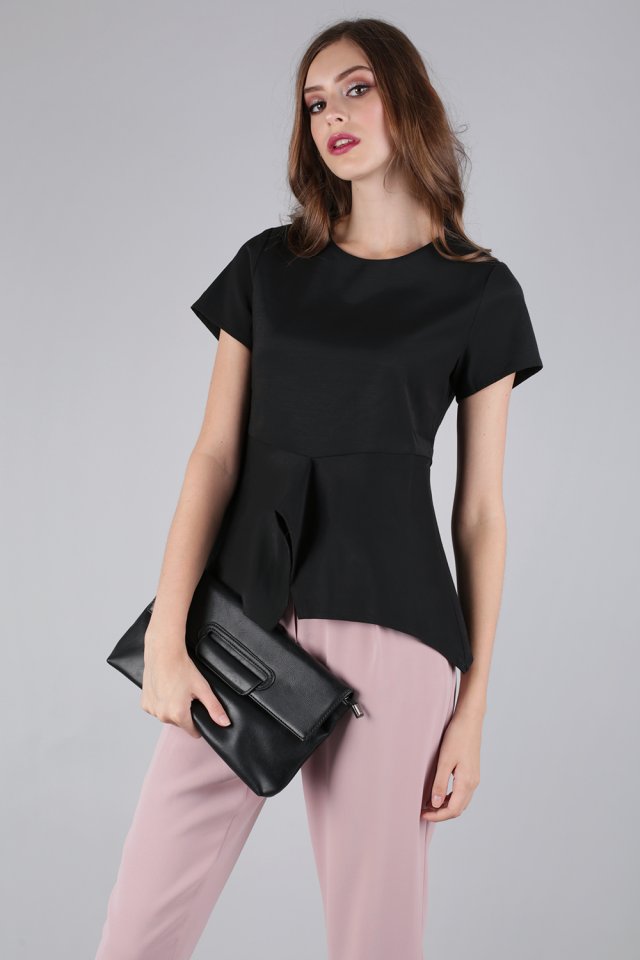 Seira Peplum Top (Black)