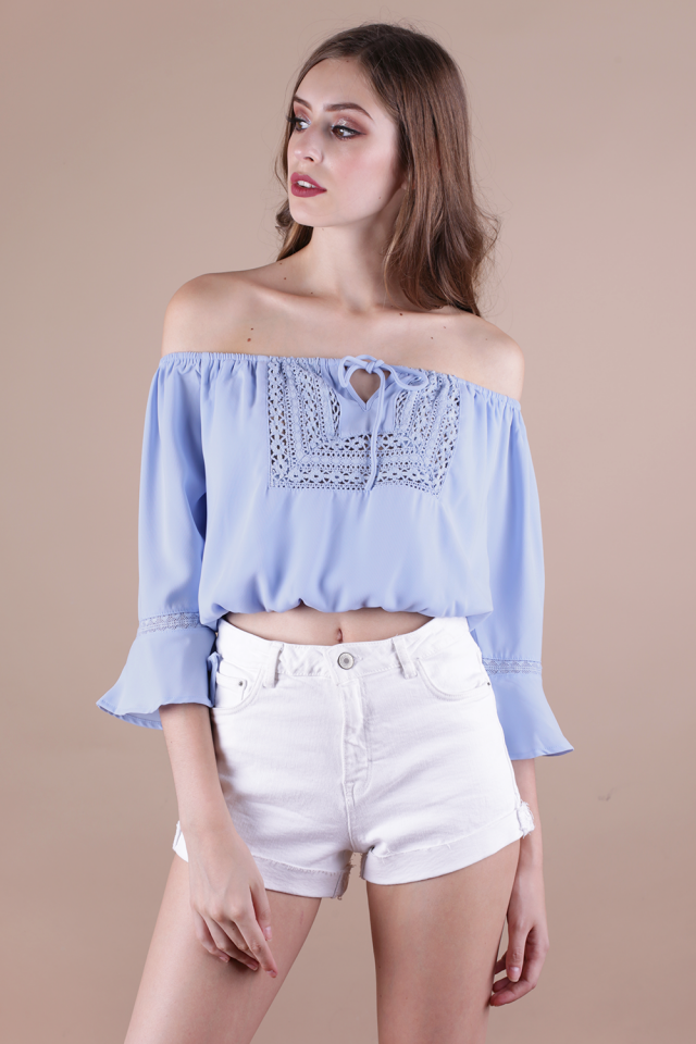 Henna Off Shoulder Top (Periwinkle)
