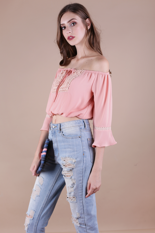 Henna Off Shoulder Top (Pink)