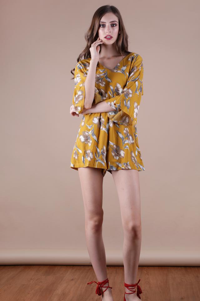 Calla Floral Romper (Mustard)
