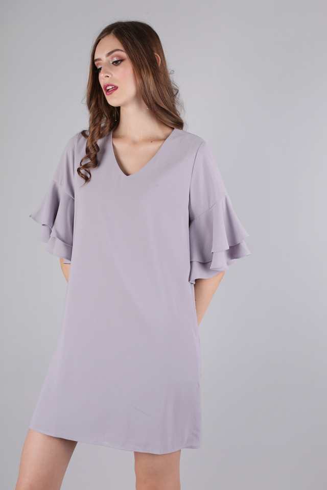 Peppa Ruffles Sleeve Dress (Dusty Lilac)