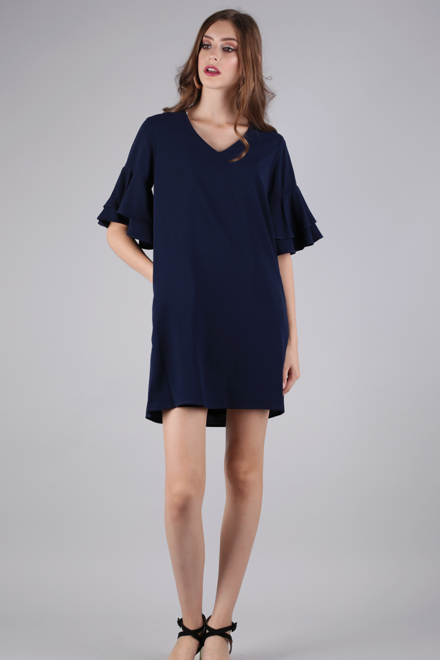Peppa Ruffles Sleeve Dress (Navy)
