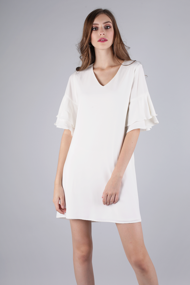 Peppa Ruffles Sleeve Dress (White)