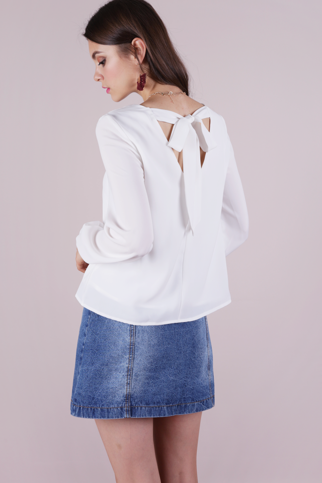 Kierra Tie Back Blouse (White)