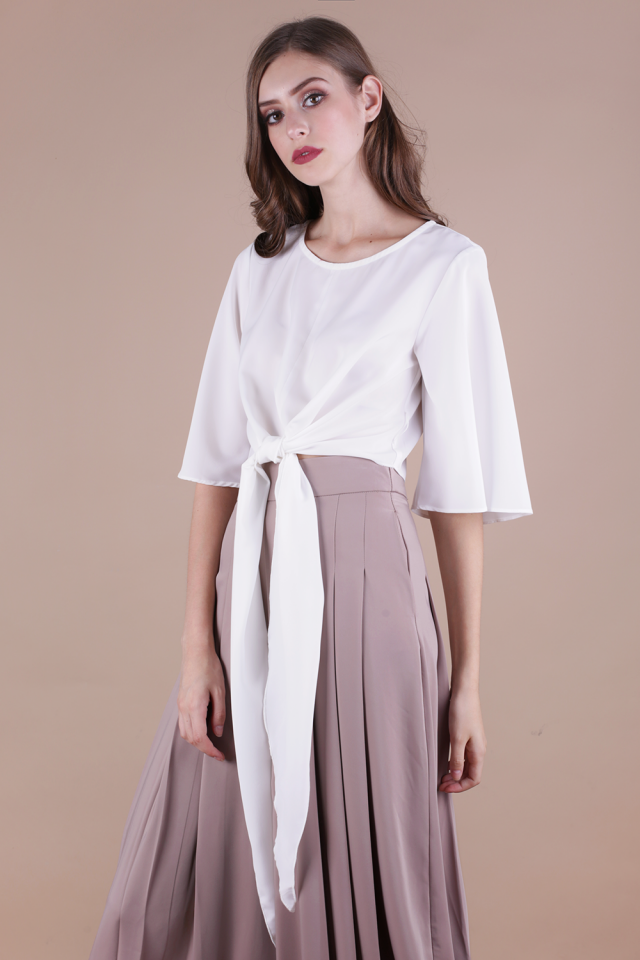 Lena Flare Sleeve Top (White)